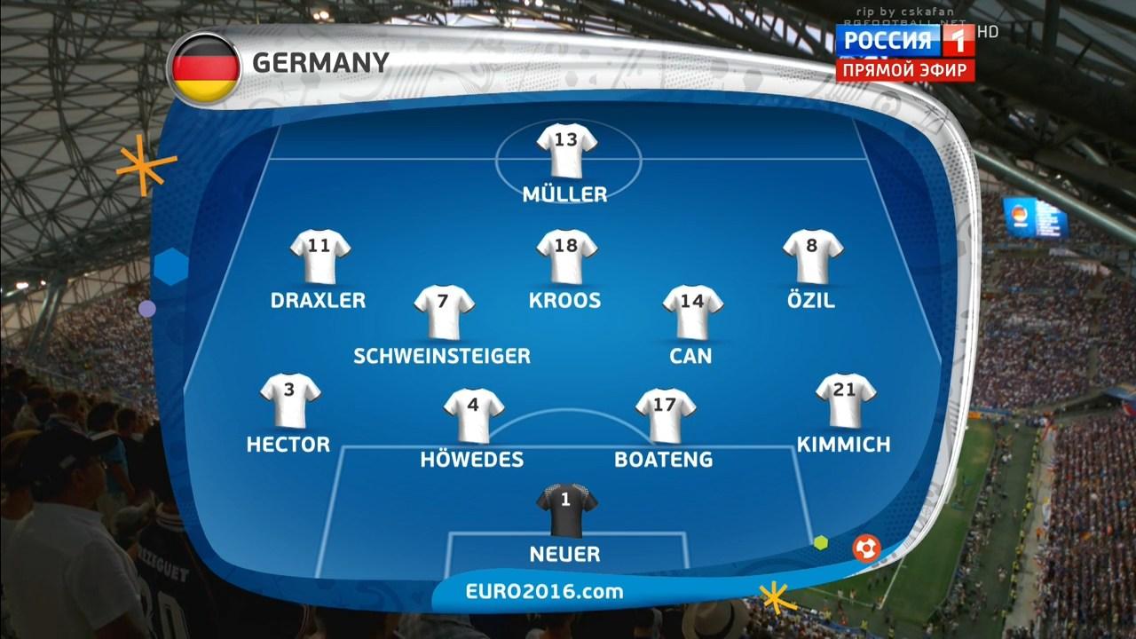 Футбол. Чемпионат Европы 2016 (1/2 финала) Германия - Франция (2016) HDTVRip 720p | 50 fps