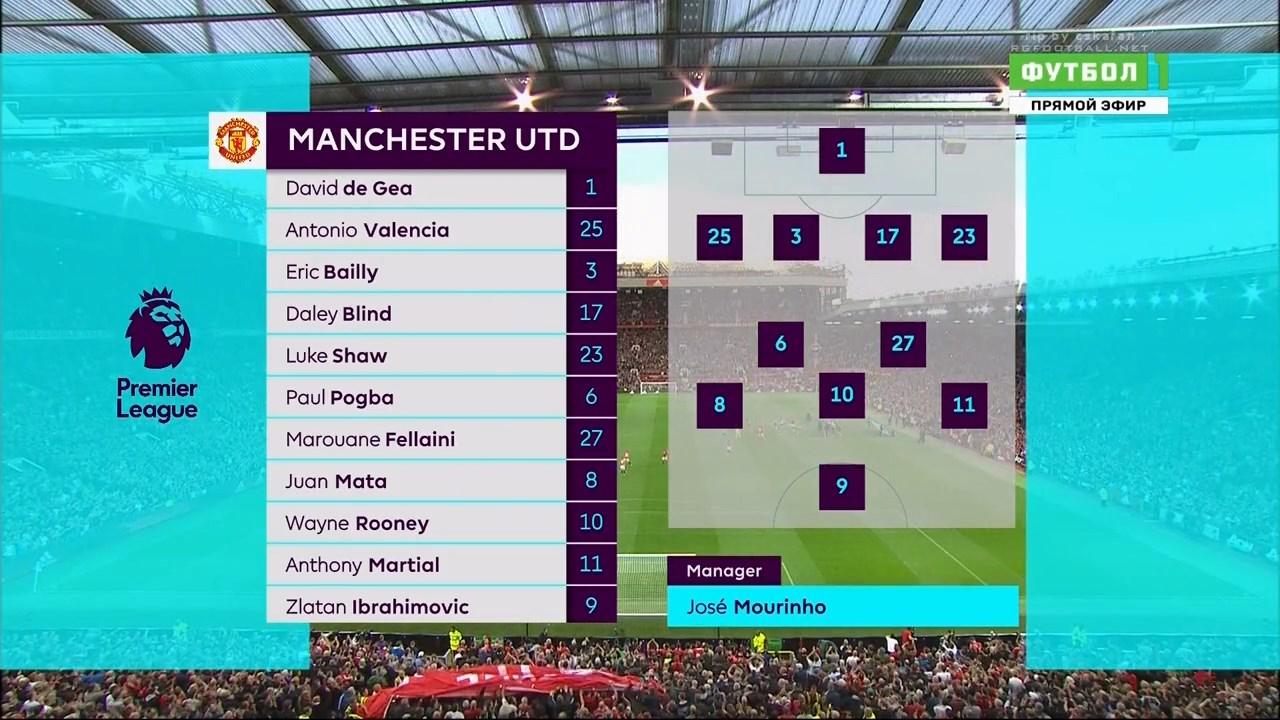 Футбол. Чемпионат Англии 2016-17 (2-й тур) Манчестер Юнайтед - Саутгемптон (2016) HDTVRip 720p