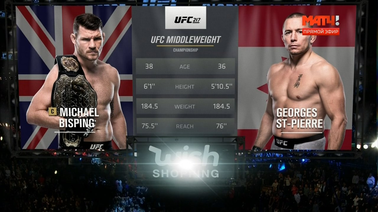 Смешанные единоборства. UFC 217: Bisping vs. St-Pierre + Main Card (2017) HDTVRip 720p